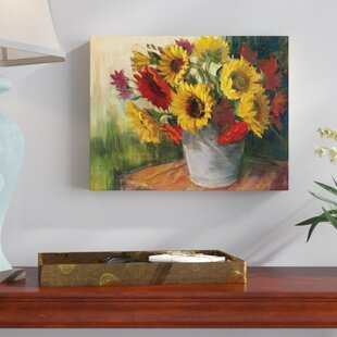 Marvelous September Sunflowers Painting Print On Wrapped Canvas