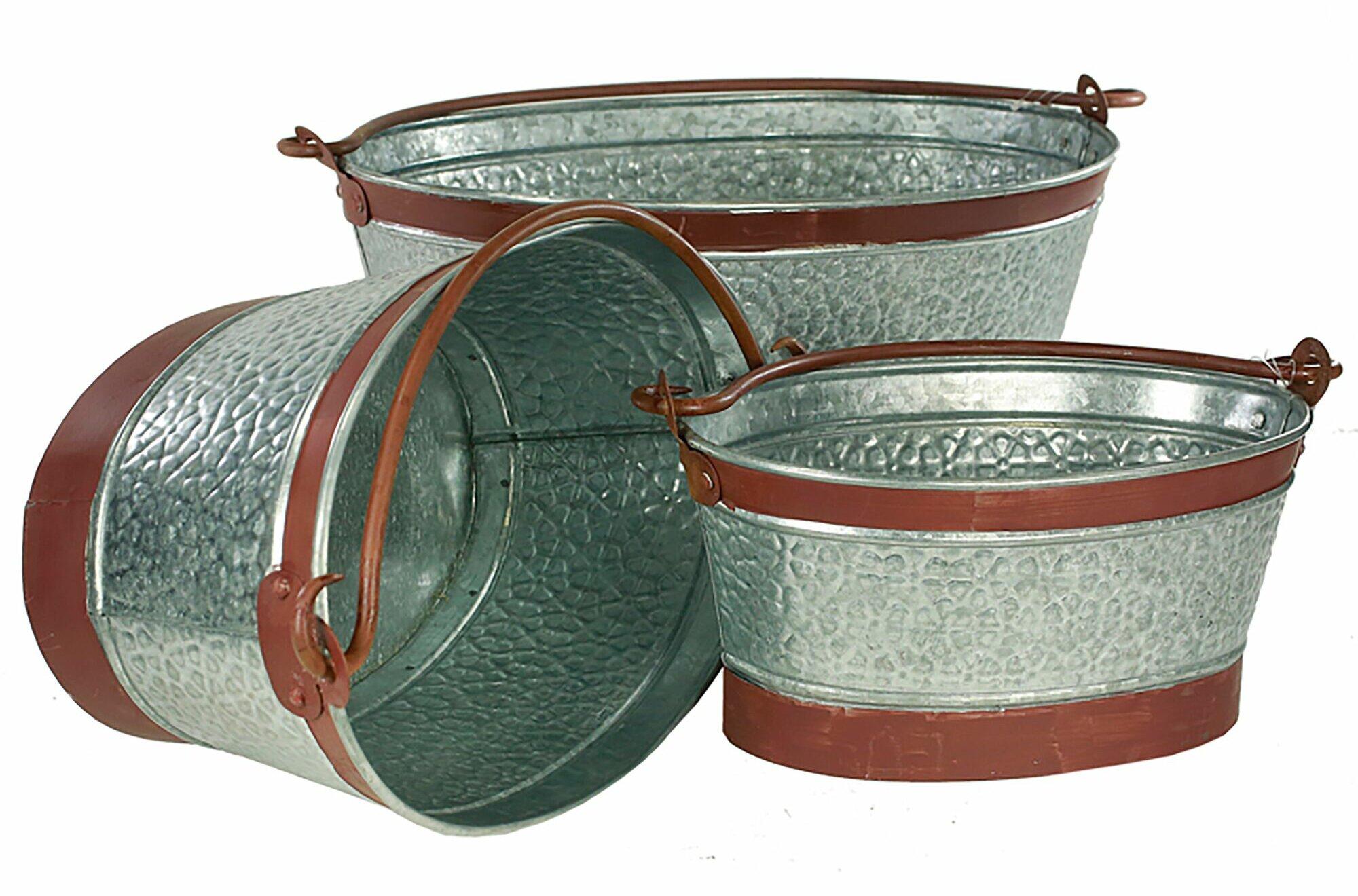 August Grove Connollee 3-Piece Metal Pot Planter Set   Wayfair