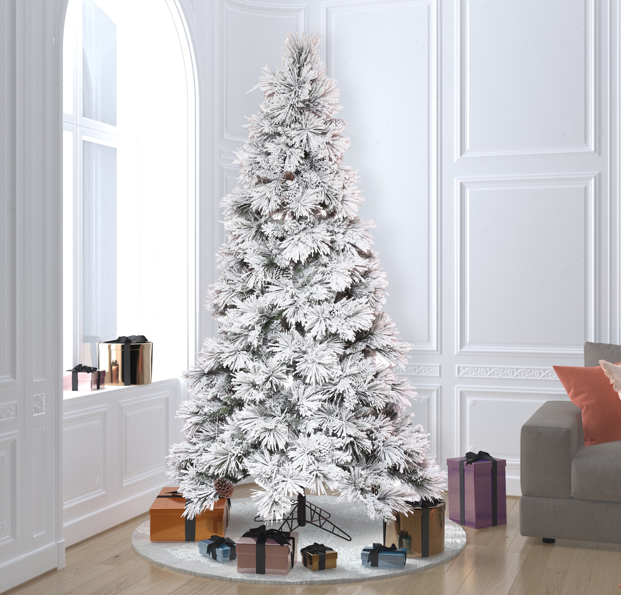 The Holiday Aisle White Gold Tinsel 4 5 Artificial Christmas Tree With Stand Wayfair