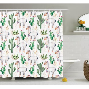 Lindsey Hot South Desert Plant Cactus Pattern With Camel Animal Modern Colored Image Single Shower Curtain