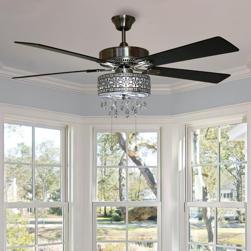 52 Noyes 5 Blade Crystal Ceiling Fan