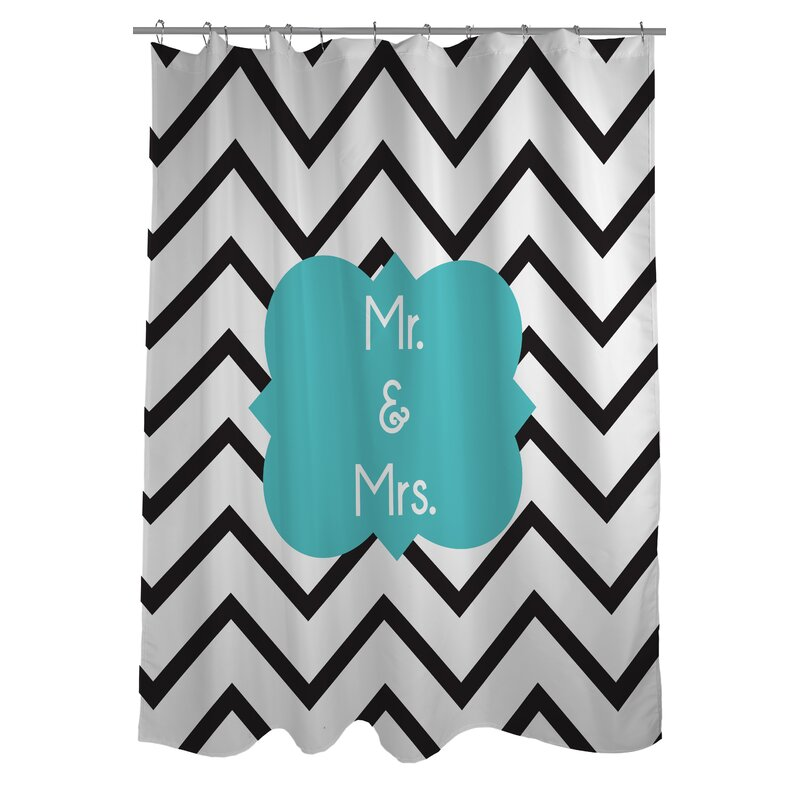 Mr And Mrs Chevron Shower Curtain