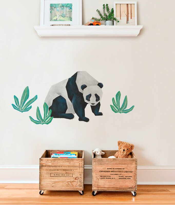 Harriet Bee Barela Panda Wild Animals Tropical Leaves Wall Decal - Wall decals leaves