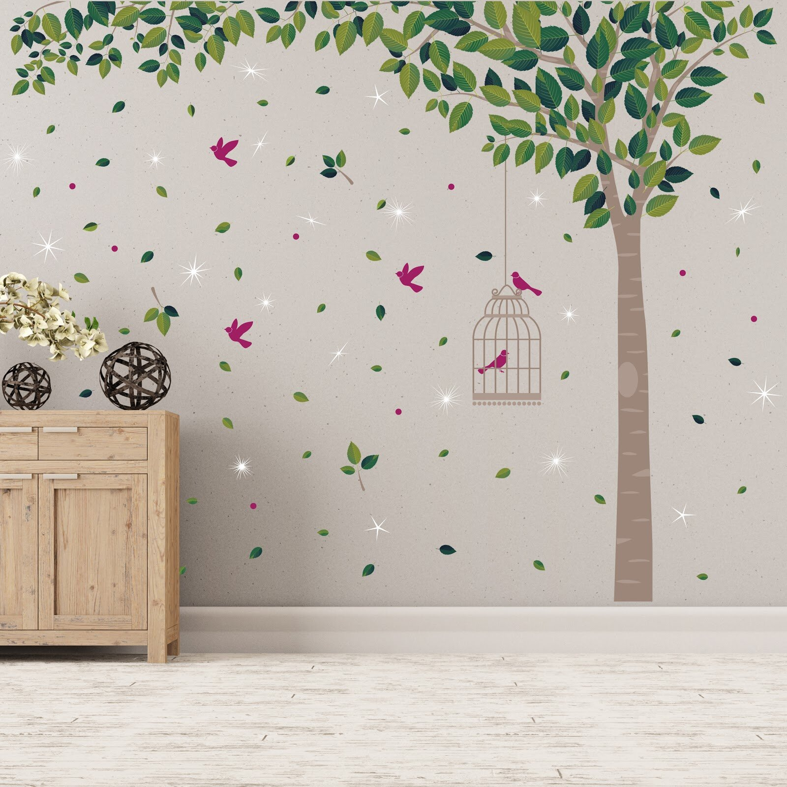 Arbre A Chat Mural Design tree and swarovski crystals 60 piece wall decal set