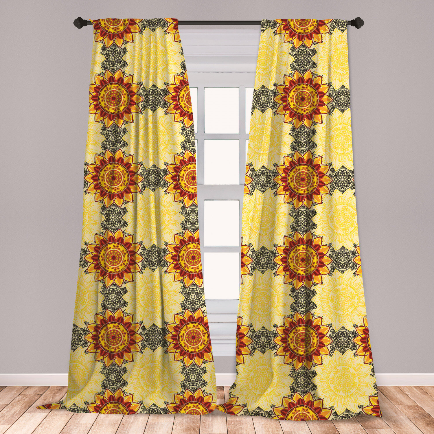 East Urban Home Ambesonne Mandala 2 Panel Curtain Set Vibrant Yellow Mandala With Floral Framework Petals Boho Lightweight Window Treatment Living Room Bedroom Decor 56 X 63 Yellow Black Ruby Wayfair