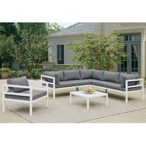 Ostler 5 Piece Sectional Deep Seating Group with Cushion