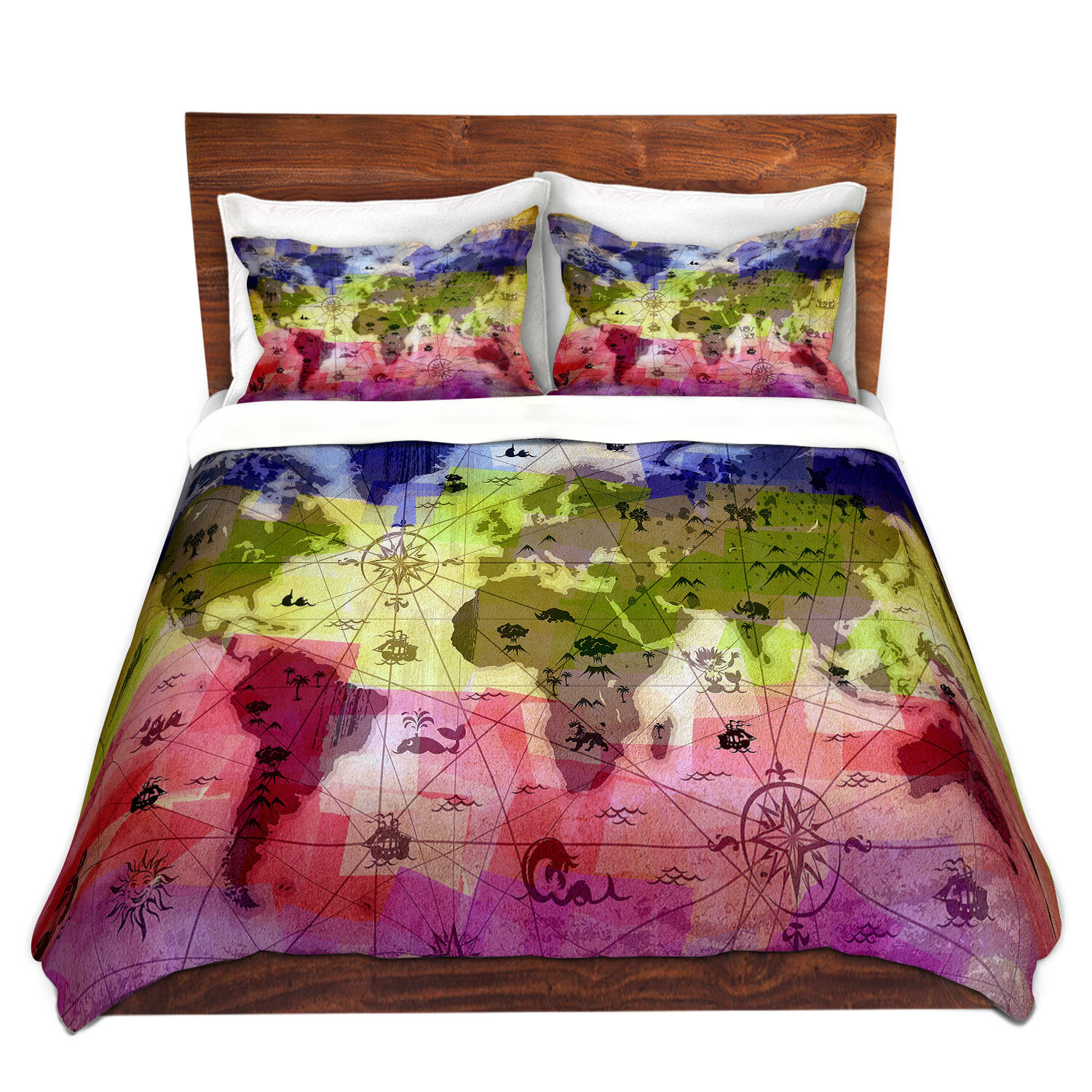 dianochedesigns whimsical world map vi duvet set wayfair