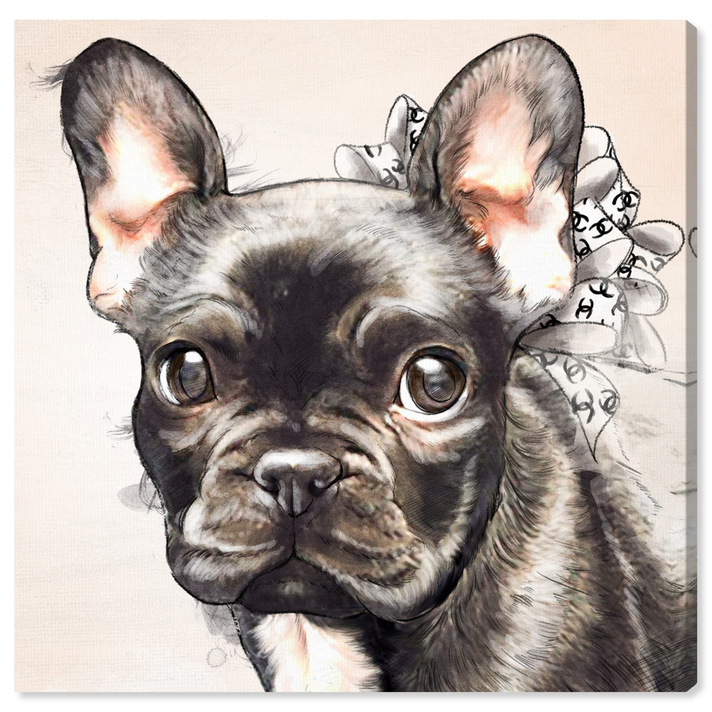 Art Remedy Dogs And Puppies Frenchie Bow Watercolor Black Print On Wrapped Canvas