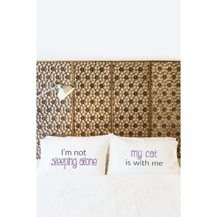 2 Piece Sleeping Alone Cat Pillowcase Set