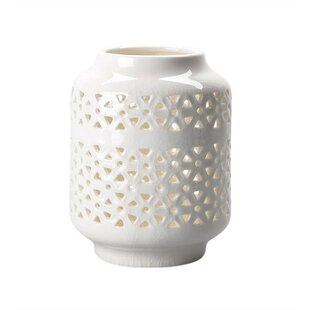 Bungalow Rose Sophisticated Cutout Patterned Ceramic Lantern