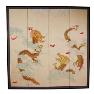 Rothe Dragons Playing 4 Panel Room Divider by Bloomsbury Market