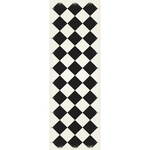 Top Welsh Diamond European Design Black/White Indoor/Outdoor Area Rug By Winston Porter