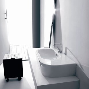 Affordable Price Flo Ceramic Ceramic U-Shaped Vessel Bathroom Sink with Overflow By WS Bath Collections
