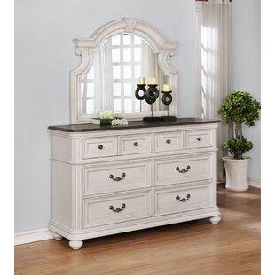One Allium Way Alisa 6 Drawer Double Dresser with Mirror