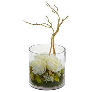 Artificial Roses and Hydrangeas Floral Arrangement in Vase