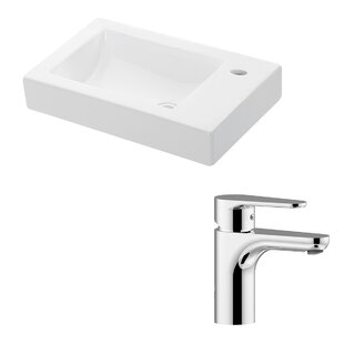 WS Bath Collections Minimal Ceramic Ceramic Rectangular Vessel Bathroom Sink with Faucet