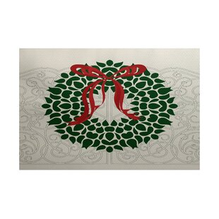 Wreath Green Indoor/Outdoor Christmas Area Rug