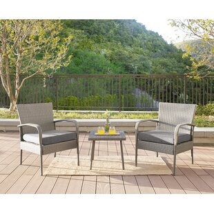 Alois 3 Piece Rattan Conversation Set with Cushions