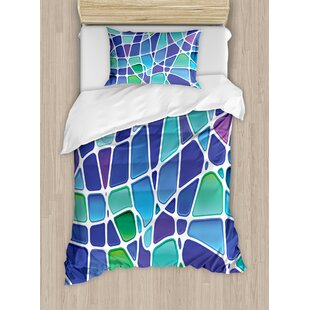 East Urban Home Fractal Ceramic Mosaic Style Forms Trippy Abstract Vivid Figures Display Duvet Set