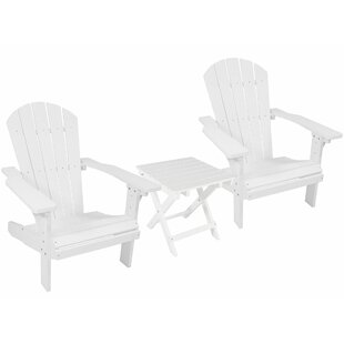 Saldana All-Weather Plastic Adirondack Chair with Table