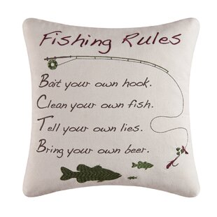 Fishing Rules Cotton Throw Pillow