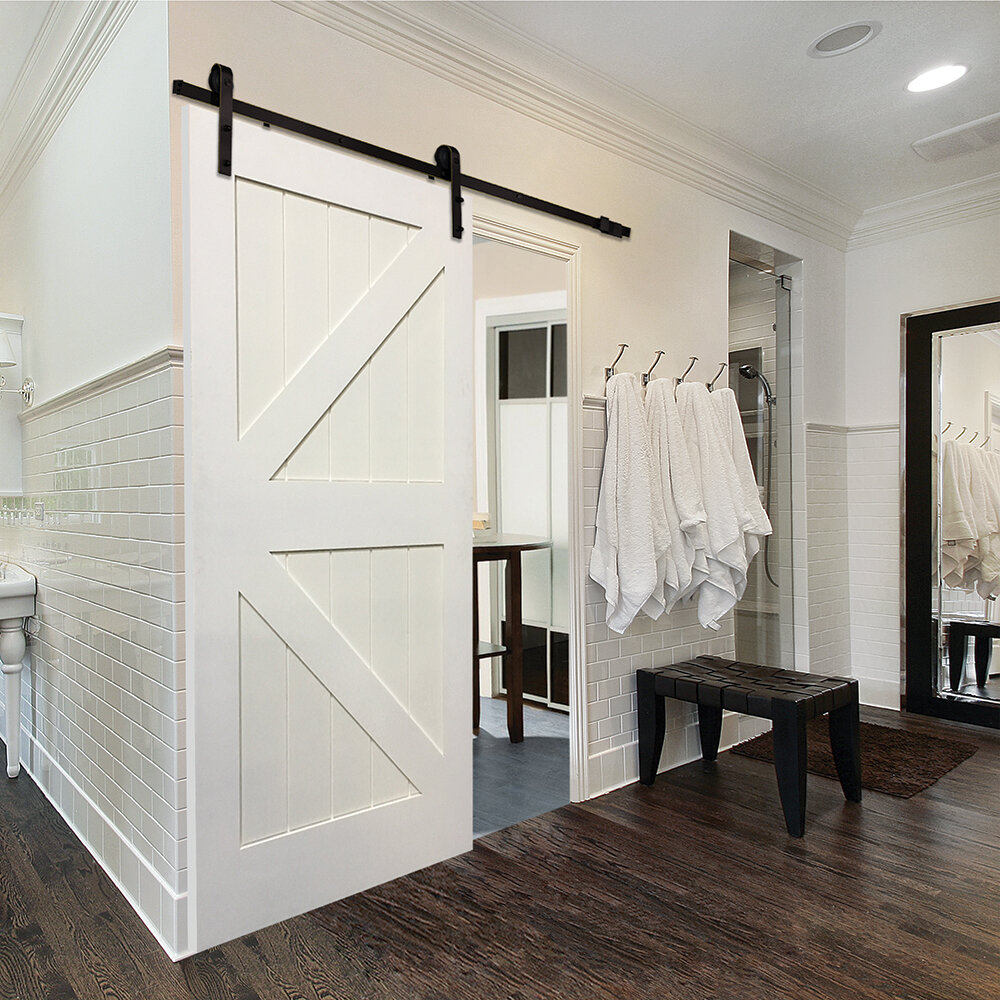 Verona Home Design Single Stile And Rail K Planked MDF 4 Panel Interior Barn Door With Hardware Reviews
