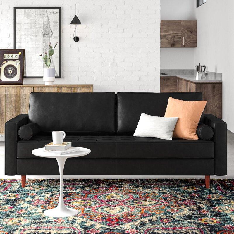 Allmodern Hailee 84 Wide Genuine Leather Square Arm Sofa Reviews Wayfair