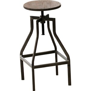 French Industrial Farmhouse Adjustable Height Swivel Counter Bar Stool by Erik C