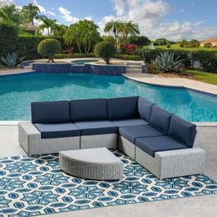 Kerr 5 Piece Rattan Sectional Set with Cushions