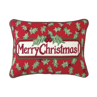 Merry Christmas Holly Needlepoint Lumbar Pillow