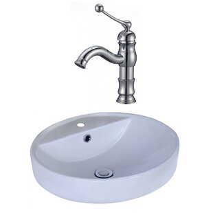 Ceramic Circular Vessel Bathroom Sink with Faucet and Overflow ByAmerican Imaginations