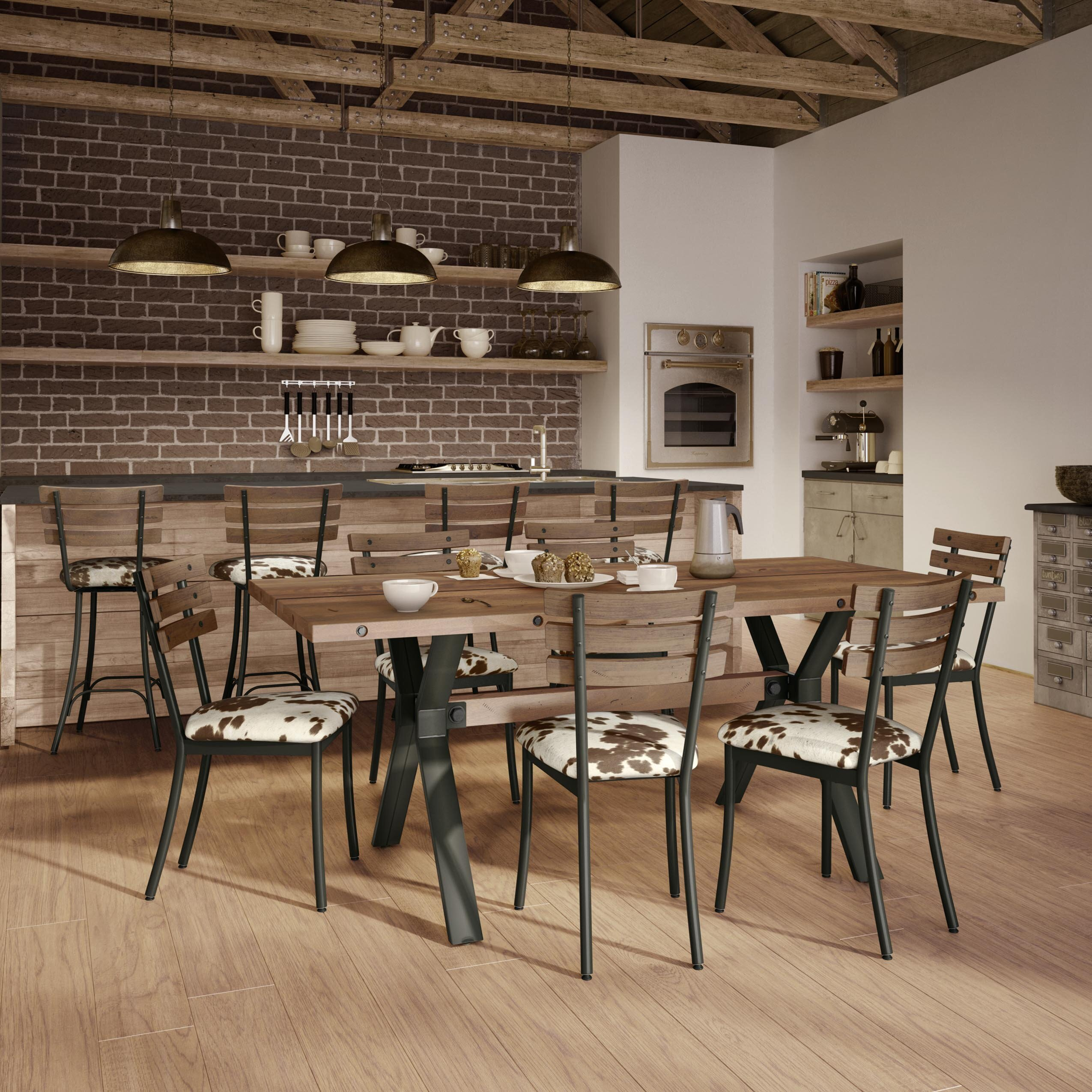 Stories Darcelle Piece Metal And Aged Wood Dining Set Wayfair - Aged wood dining table