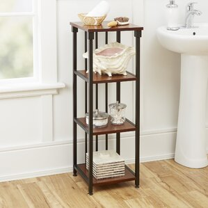 shelves for bathroom. Tammy Mixed Material 4 Tier 12  W x 35 H Bathroom Shelf Free Standing Shelving You ll Love Wayfair