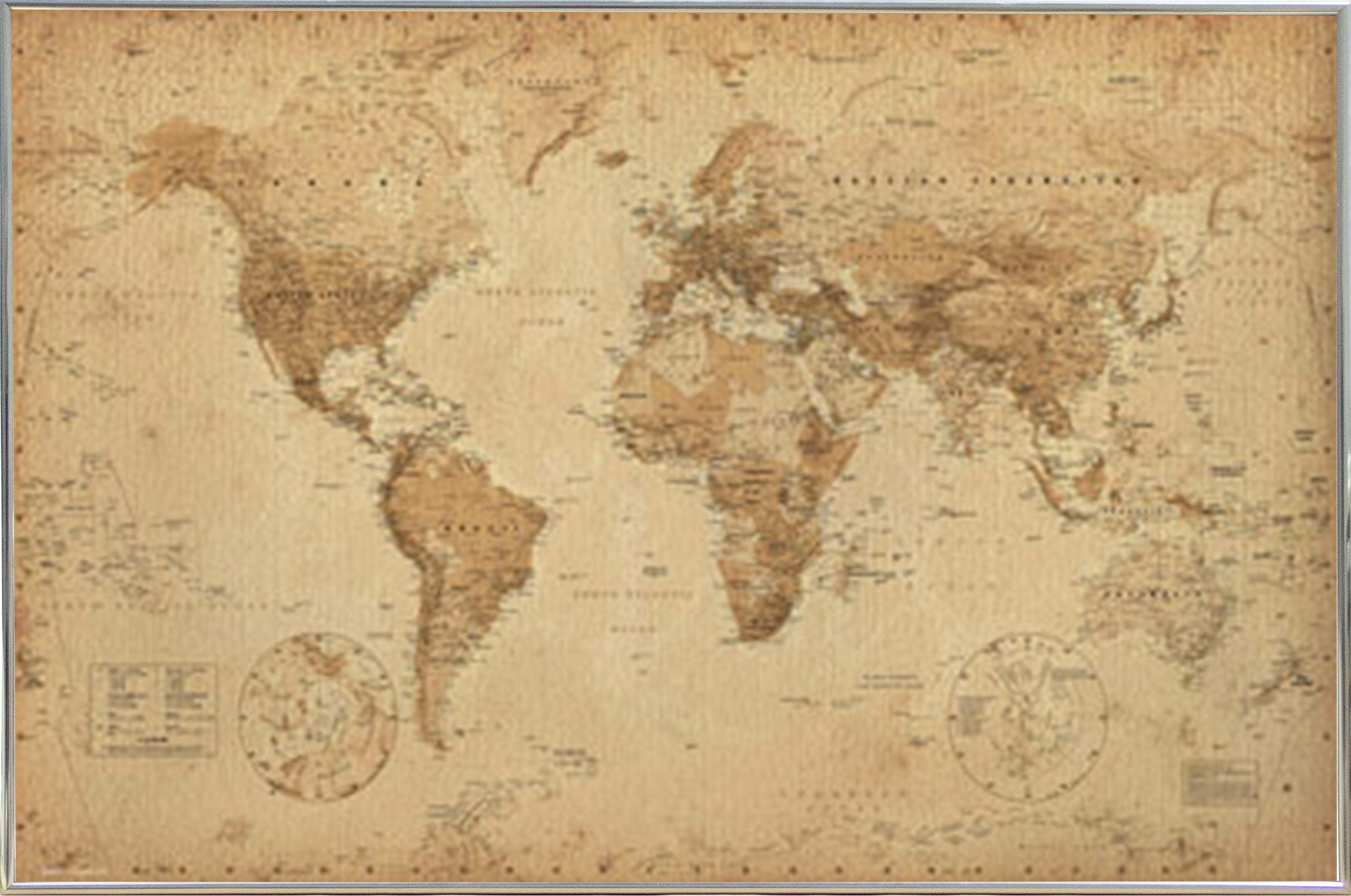 Alcott Hill \'World Map Antique\' Metal Framed Graphic Art Print ...