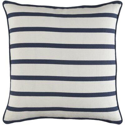 Ivy Bronx Yahya Mini Stripe Cotton Throw Pillow Cover Color: White/ Navy