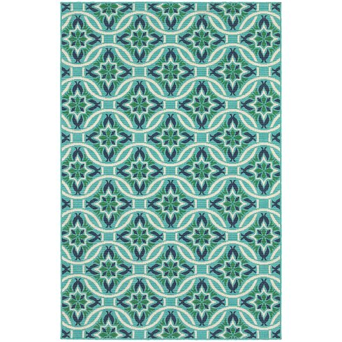 Kailani Contemporary Geometric Blue Green Indoor Outdoor Area Rug