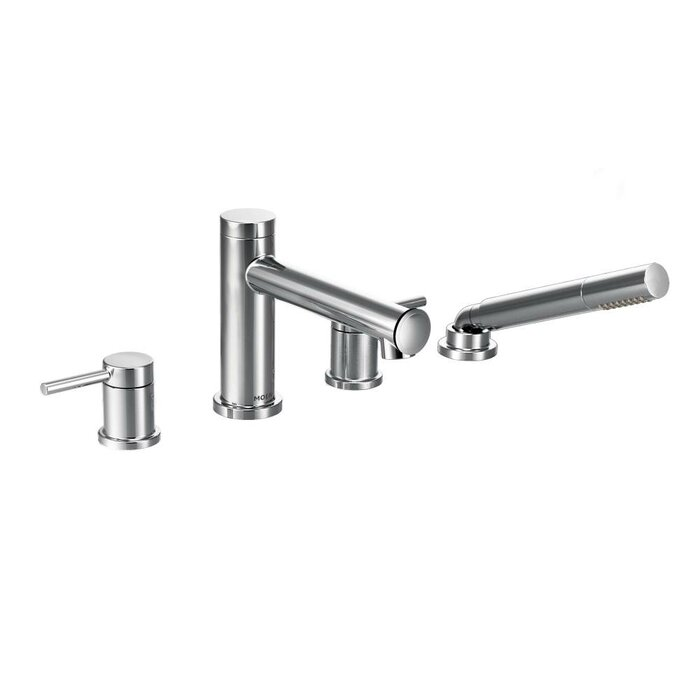 roman tub faucet with hand shower. Align Two Handle Deck Mount Diverter Roman Tub Faucet Trim With Hand Shower