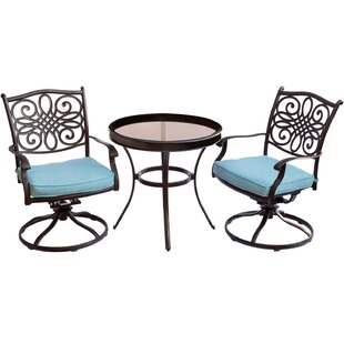 Three Posts Lauritsen 3 Piece Bistro Set with Cushions