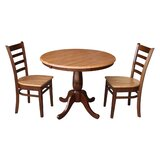 Petra Traditional Extendable Pedestal 3 Piece Solid Wood Bistro Set by August Grove®