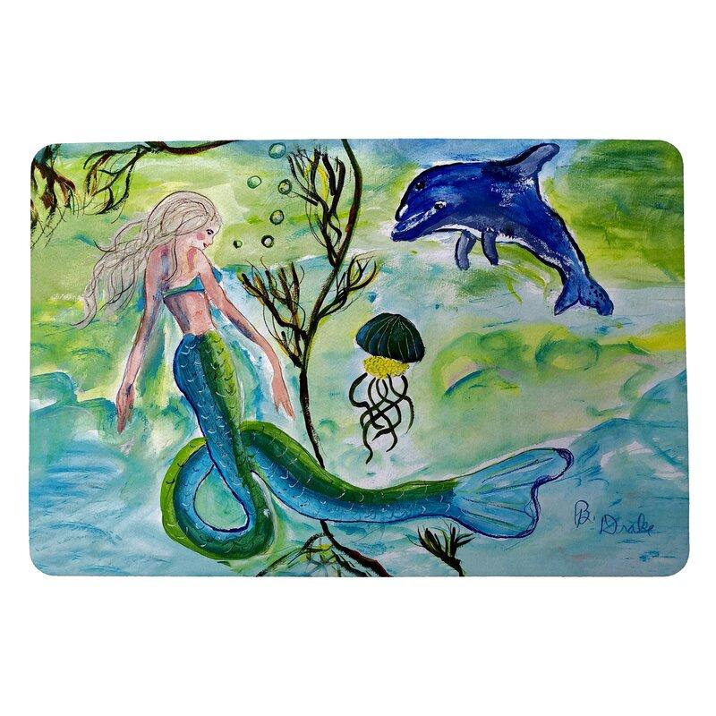 Rosecliff Heights Milly Mermaid And Jellyfish Non Slip Indoor Outdoor Door Mat Wayfair