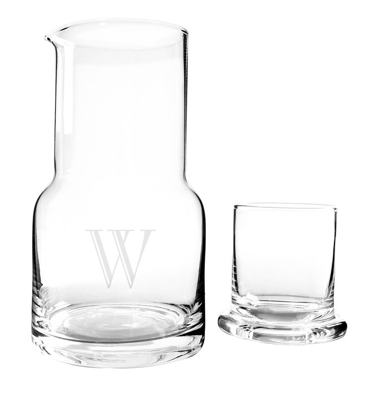 Cathys Concepts 2 Piece Personalized Bedside Water Carafe Set