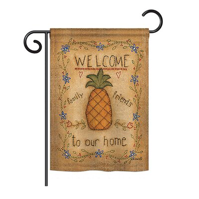 "Welcome Sweet Pineapple Inspirational Home Impressions Decorative Vertical 13"" x 18.5"" Double Sided Garden Flag Set Breeze Decor"