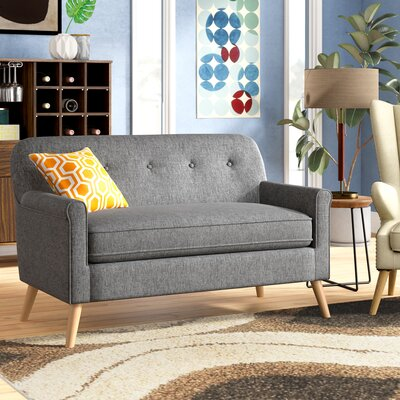 with wood compact loveseat removable sofa frame vintage cushions