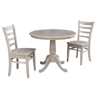 Petra Traditional Extendable Pedestal 3 Piece Solid Wood Bistro Set