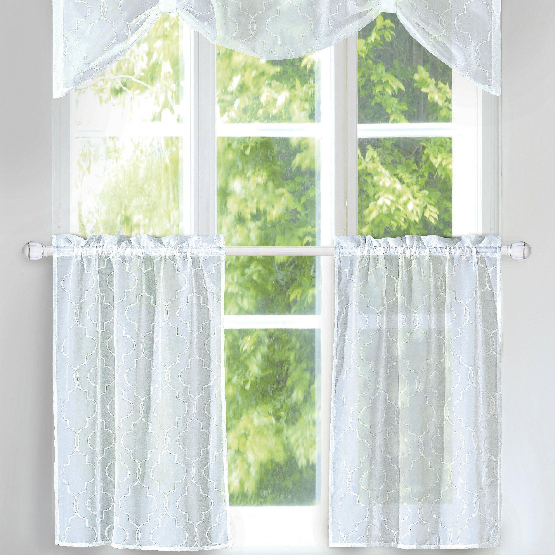 House of hampton rana 3 piece kitchen curtain set wayfair