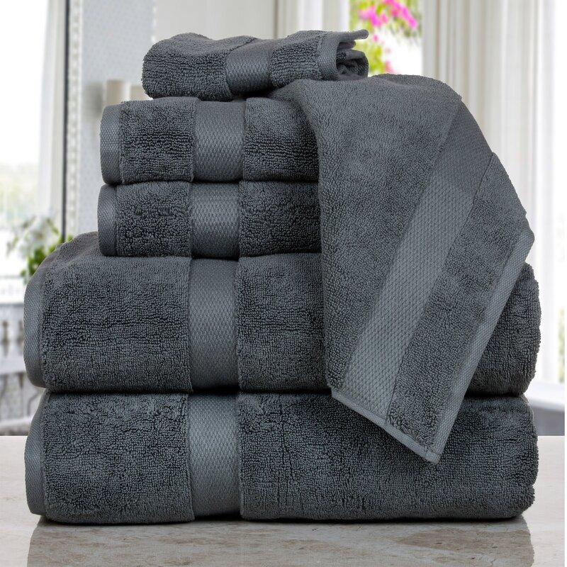 Affinity Linens Madhvi Premium Quality Luxury 6 Piece Cotton Towel Set  Color: Gray