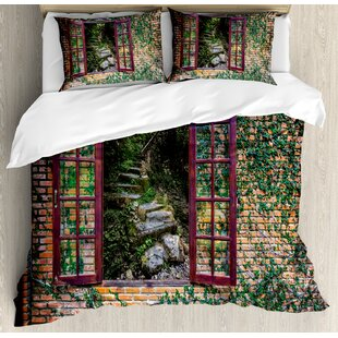 Country House with Open Windows inside Forest View Brick Wall with Ivy Rural Print Duvet Set by Ambesonne