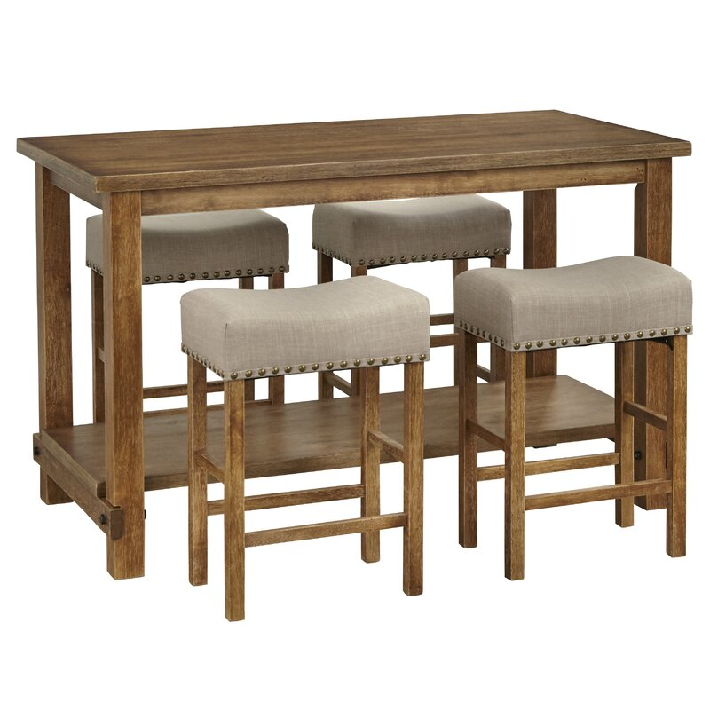 Hendina 5 Piece Solid Wood Table Set