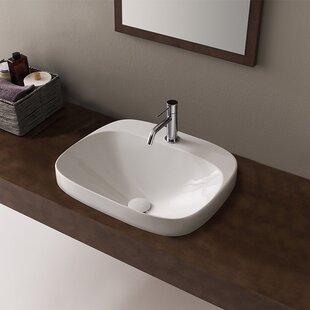 Check Prices Moon Ceramic Square Vessel Bathroom Sink ByScarabeo by Nameeks