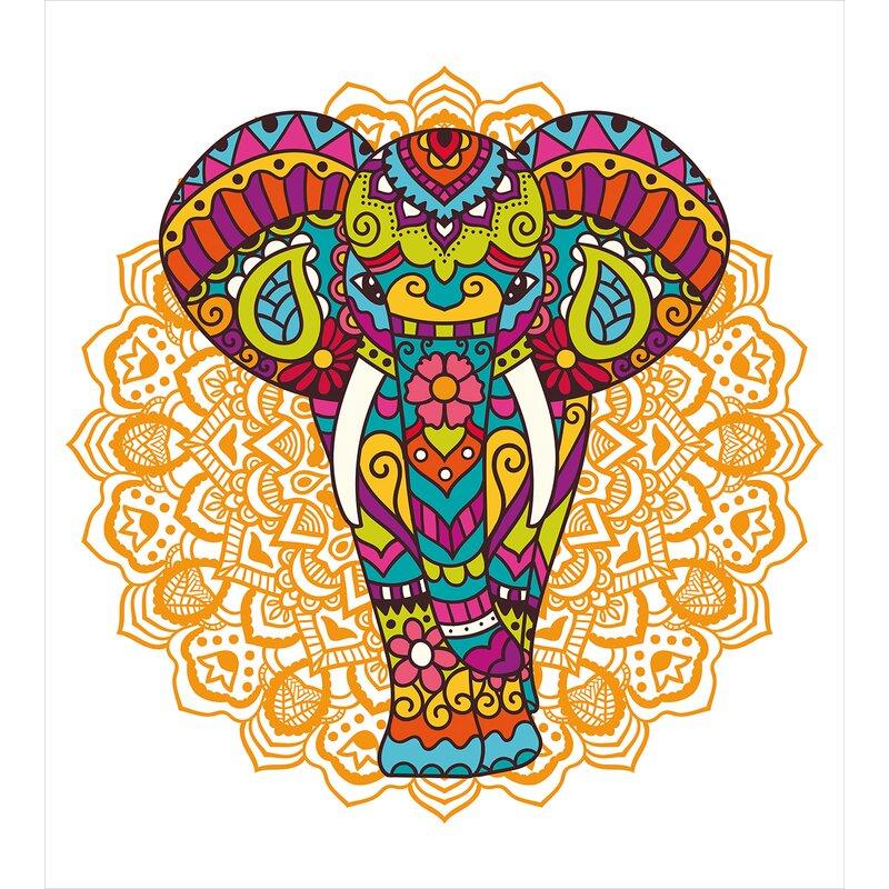 Ambesonne Elephant Mandala Indian Ethnic Rain Bringing Symbol Of